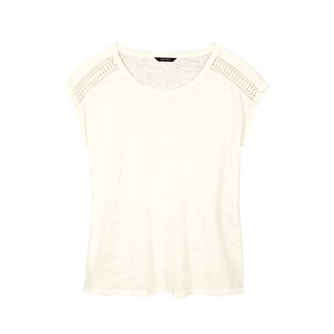 Clothing, White, T-shirt, Sleeve, Neck, Outerwear, Beige, Top, Blouse,
