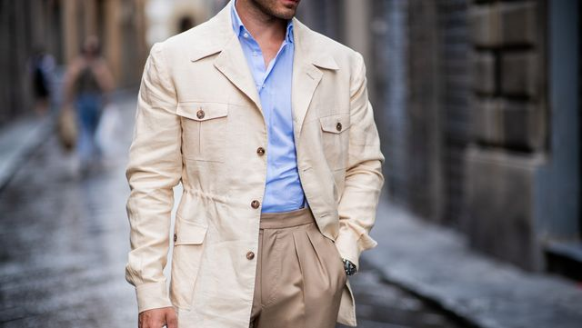 florence, italy   june 14 michal gronowski wearing harrisons mersolair linen bespoke safari jacket sebastian zukowski, tropic wool bespoke trousers with high waist and two pleats zack roman, cotton shirt, gh bass shoes is seen during the 94th pitti immagine uomo on june 14, 2018 in florence, italy photo by christian vieriggetty images