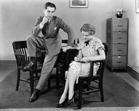 Photograph, Sitting, Snapshot, Standing, Room, Furniture, Monochrome, Leg, Black-and-white, Family,