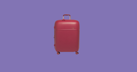 Suitcase, Magenta, Baggage, Cylinder, Hand luggage, Luggage and bags,