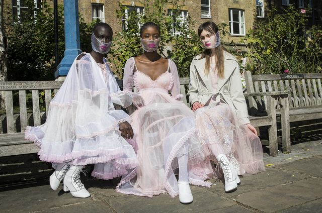london, england   september 18 models pose ahead of the bora aksu show during lfw september 2020 at st pauls church on september 18, 2020 in london, england photo by tristan fewingsbfcgetty images
