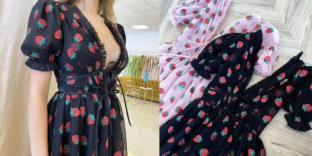 lirika matoshi strawberry dress black