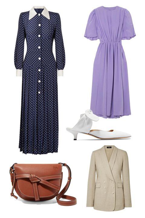 Clothing, Dress, Blue, Sleeve, Day dress, Purple, Fashion, Footwear, Outerwear, Pattern,