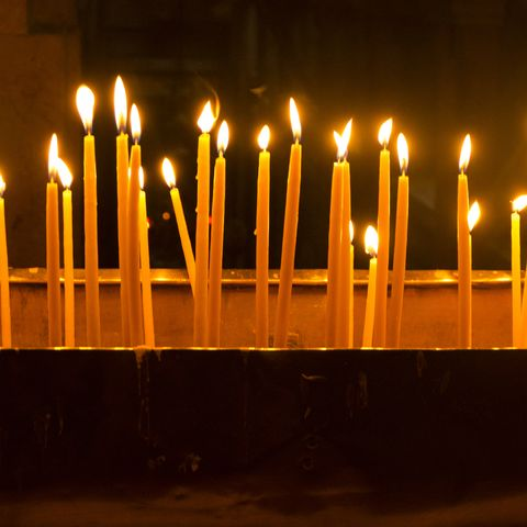 Lite Candles in Church of The Holy Sepulchre.
