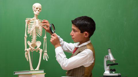 jongetje kijkt met vergrootglas naar nepskelet