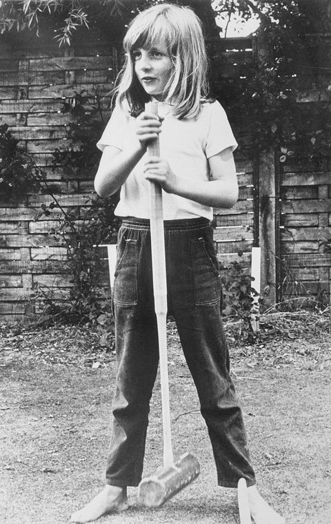 Princess Diana Posing with Croquet Mallet