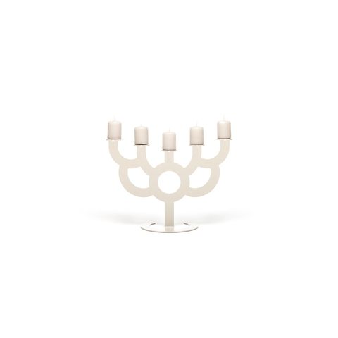 Candle holder, Menorah, Hanukkah, Hand, Finger, Beige, Logo, Holiday, Interior design,