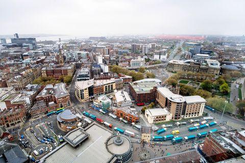 Liverpool, England high angel view