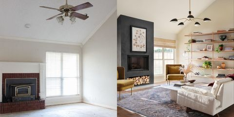 living room empty with a brick fireplace and living room with a modern makeover