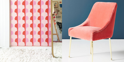Pink, Furniture, Chair, Product, Room, Orange, Interior design, Material property, Wallpaper, Auto part,