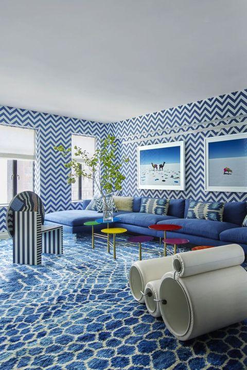 Blue, Room, Wall, Interior design, Living room, Wallpaper, Design, Architecture, House, Tile,