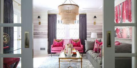 Living room, Room, Interior design, Furniture, Pink, Property, Lighting, Ceiling, Wall, Light fixture,