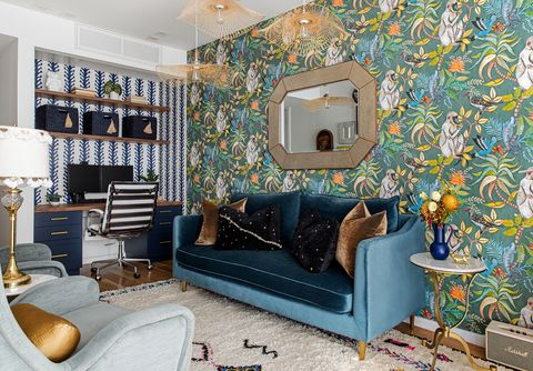 living room with colorful wallpaper