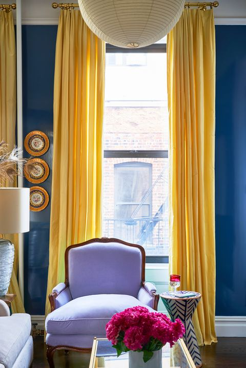 Curtain, Interior design, Window treatment, Room, Living room, Yellow, Blue, Window covering, Furniture, Property,