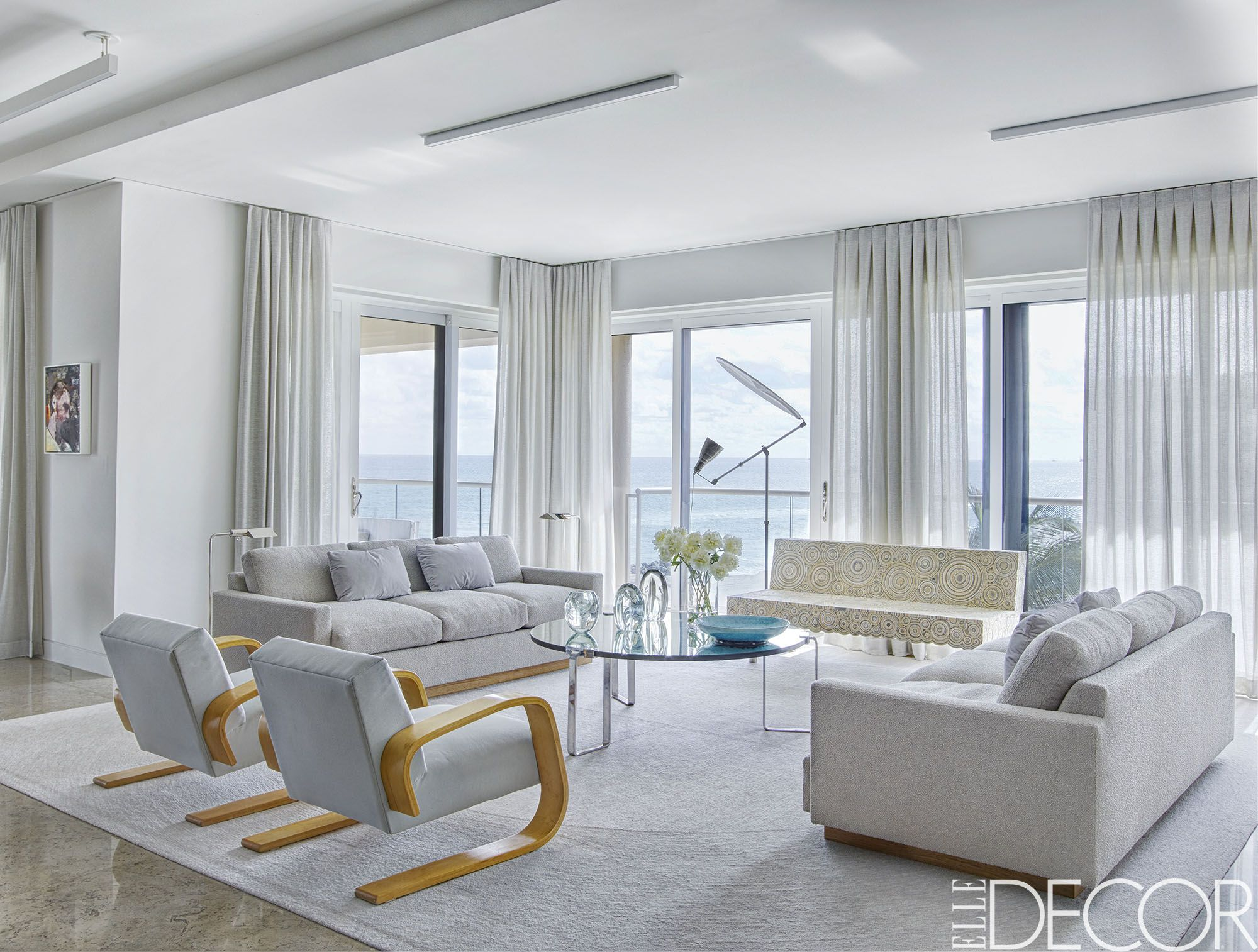 white drapes in living room