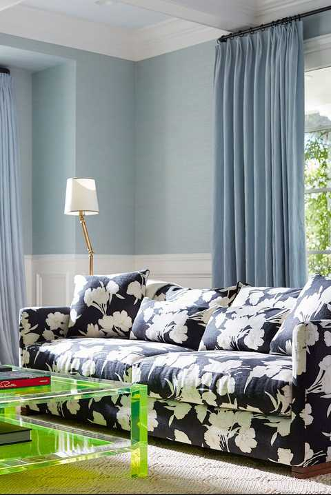 Furniture, Blue, Room, Green, Interior design, Bedroom, Couch, Curtain, Living room, Bed,