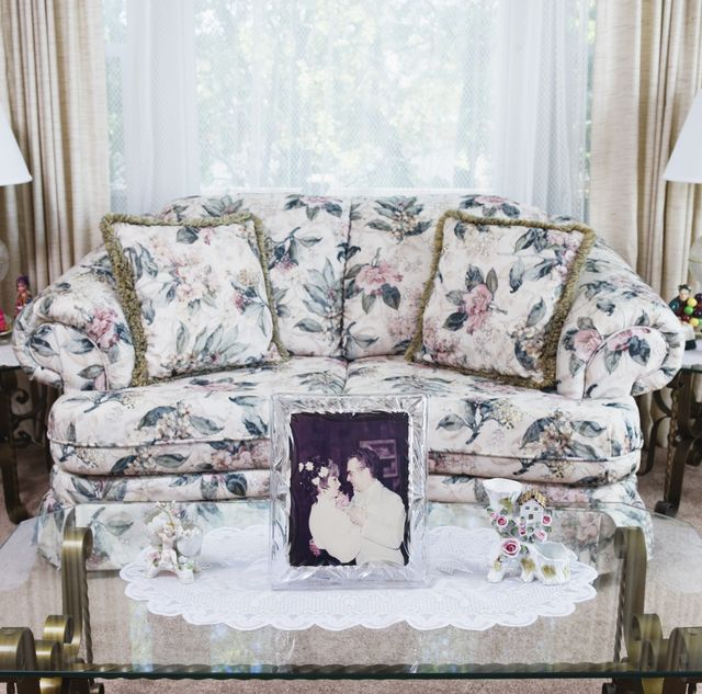 Living room interior with wedding photograph