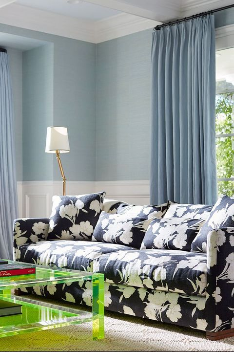 blue floral sofa in contemporary living room