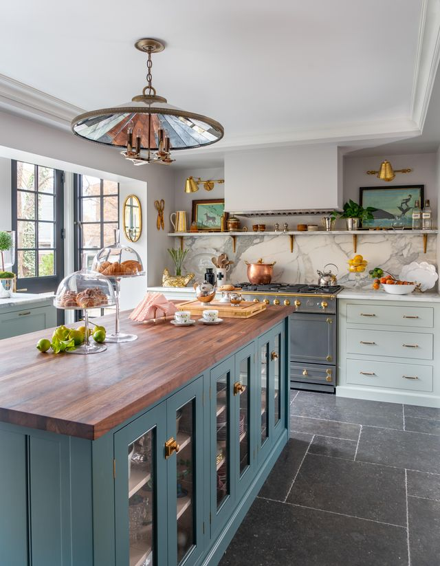 kitchen, blue and green cabinets, dark grey tiles and marble back splash, wood countertop, renovated by liz caan
