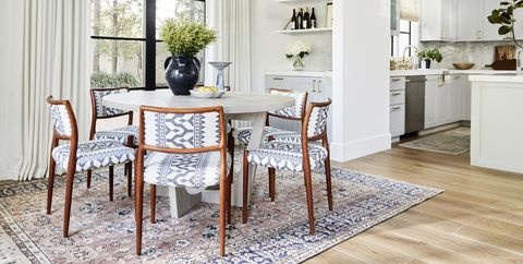 Furniture, Room, Dining room, White, Property, Interior design, Table, Floor, Building, Kitchen,