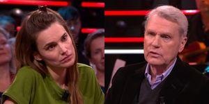 Lize Korpershoek enAdriaan van Dis in televisieprogramma De Wereld Draait Door.