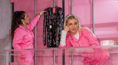 Pink, Magenta, Long hair, Textile, Fashion design, Black hair,
