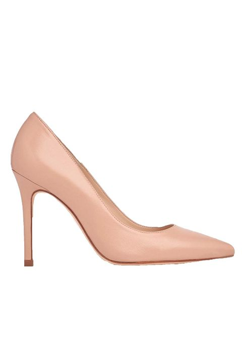 Footwear, High heels, Court shoe, Pink, Shoe, Beige, Leather, Basic pump,
