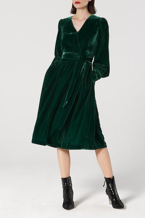 robe en velours à manches longues