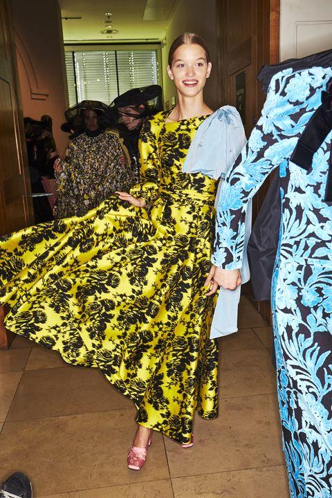Yellow, Fashion design, Outerwear, Textile, Dress, Costume,