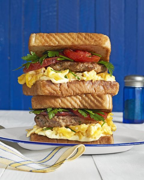 loaded breakfast sandwiches with fennel herb sausage patties
