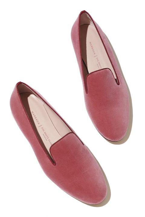 Footwear, Pink, Shoe, Ballet flat, Court shoe, Espadrille, Magenta, Leather, Suede, Beige,