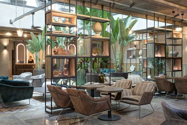 hotel lobby with plants