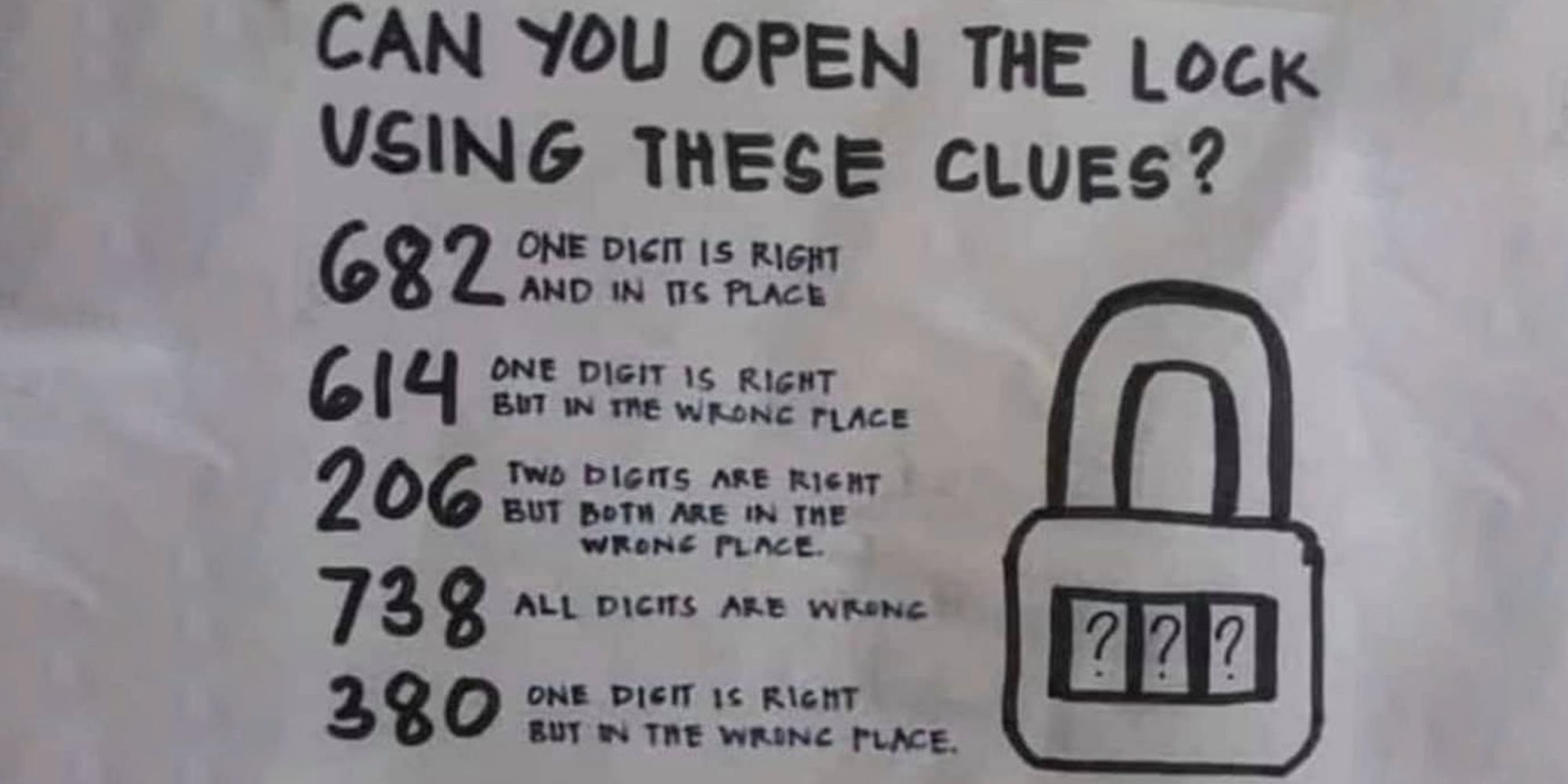 Answer To Open The Lock Puzzle Open The Lock Using These Clues