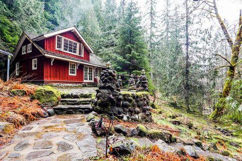 Natural landscape, Tree, Property, Wilderness, House, Log cabin, Home, Cottage, Forest, Landscape,