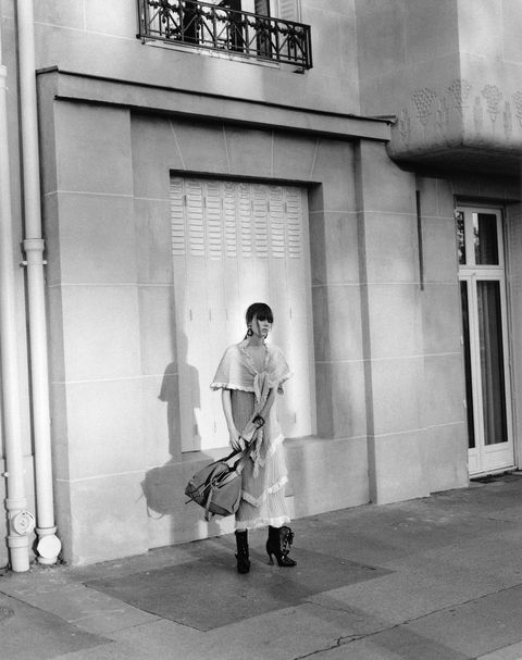Monochrome, Standing, White, Monochrome photography, Style, Street, Black-and-white, Street fashion, Photography, Luggage and bags,