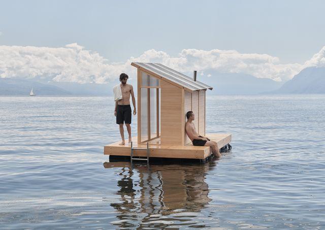 sauna galleggiante sul lago di ginevra