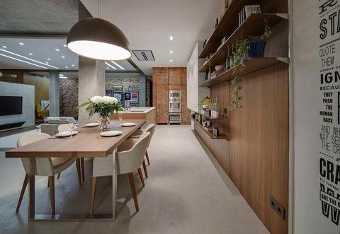 Lighting, Interior design, Floor, Table, Ceiling, Flooring, Room, Furniture, Light fixture, Display device,