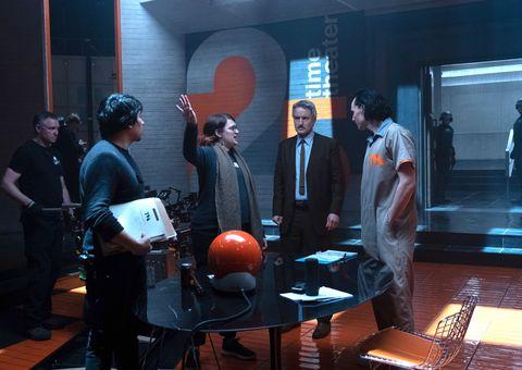 director kate herron, owen wilson and tomhiddleston on the set of marvel studios' loki
