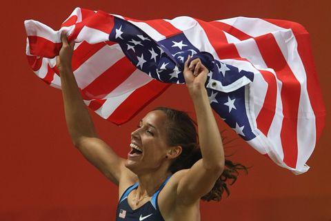 US Lolo Jones celebrates her gold medal