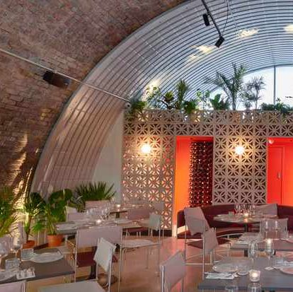 Restaurant, Building, Function hall, Interior design, Lighting, Room, Ceiling, Architecture, Furniture, Arch,