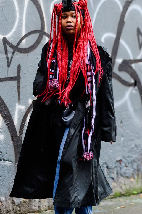 People, Clothing, Fashion, Street fashion, Hairstyle, Costume, Outerwear, Goth subculture, Long hair, Gothic fashion,