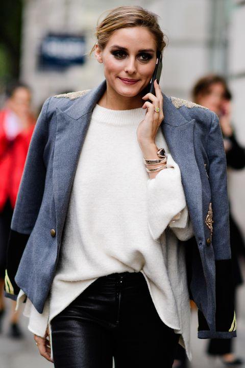 Clothing, Street fashion, White, Fashion, Outerwear, Jeans, Blazer, Beauty, Jacket, Lip,