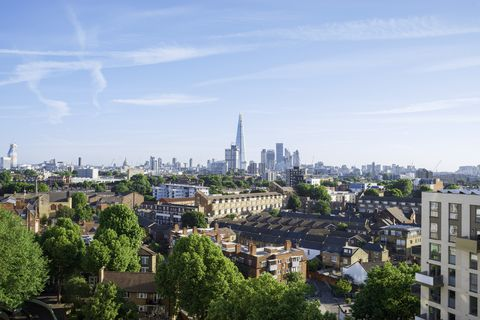 London residential district with view of the business district