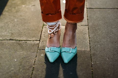Footwear, Street fashion, Shoe, Ankle, Leg, Fashion, Turquoise, Brown, Human leg, Joint,