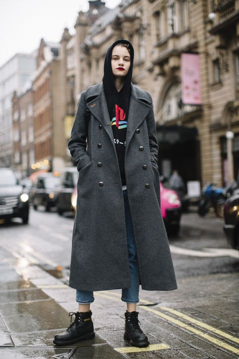 Clothing, Street fashion, Photograph, Coat, Fashion, Trench coat, Outerwear, Snapshot, Overcoat, Footwear,