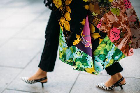 Clothing, Green, Yellow, Footwear, Street fashion, Fashion, Leg, Human leg, Shoe, Fun,