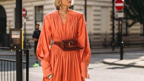 Street fashion, Clothing, Orange, Red, Fashion, Snapshot, Outerwear, Dress, Robe, Infrastructure,