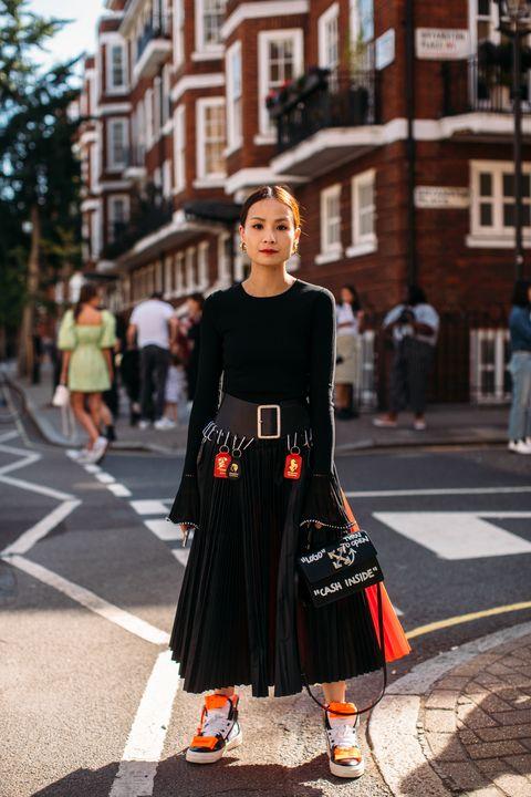 Street fashion, Fashion, Clothing, Dress, Orange, Snapshot, Street, Infrastructure, Footwear, Road,