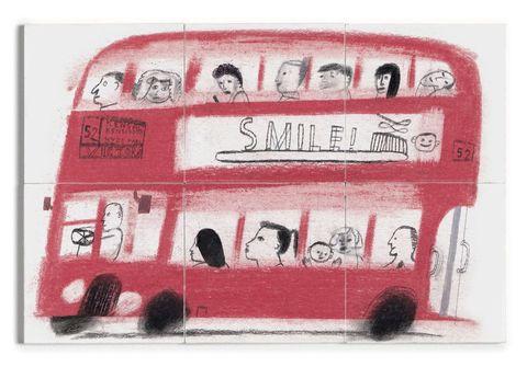 'London Bus' six-tile mural, £180, Such Stories