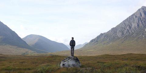 man alone mountains